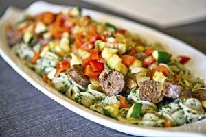 Kale pesto pasta with Italian sausage